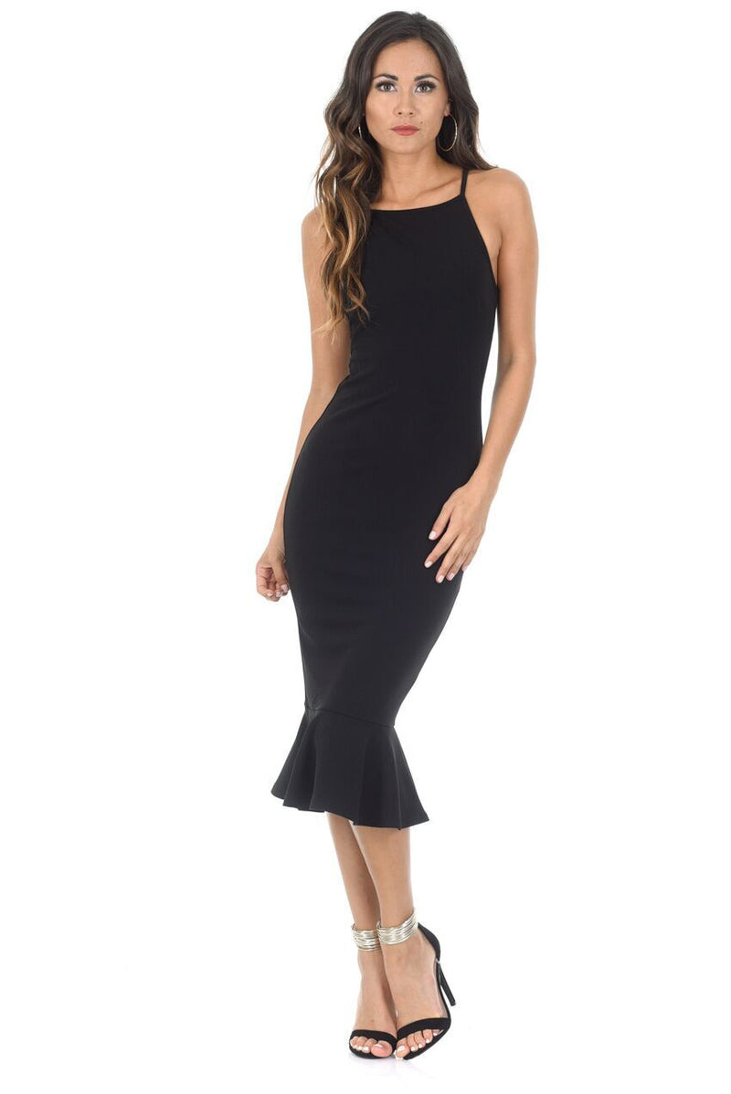 Black Bodycon Midi Dress With Frill Hem