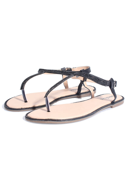 Black Diamante PU T-Bar Sandals