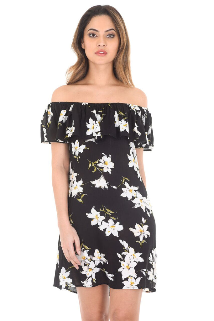 Black Floral Off The Shoulder Printed Dress
