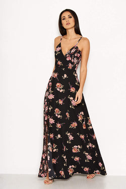 Black Floral V Neck Maxi Dress