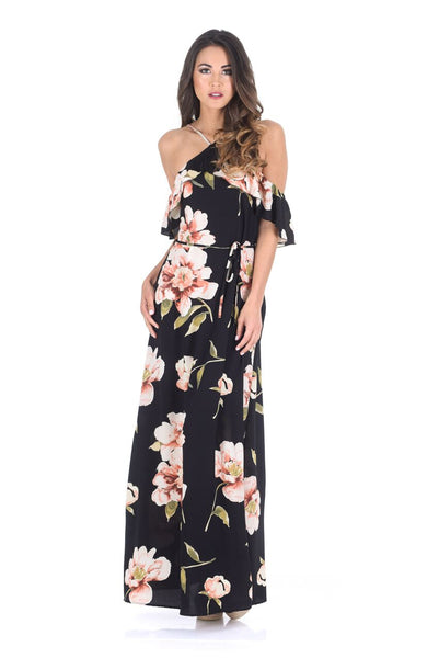 Black Strappy Floral Patterned Maxi Dress