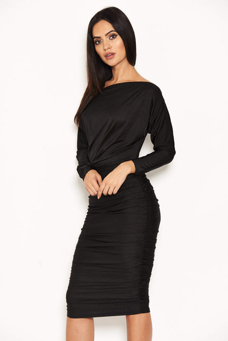 Black Knot Front Bodycon Dress