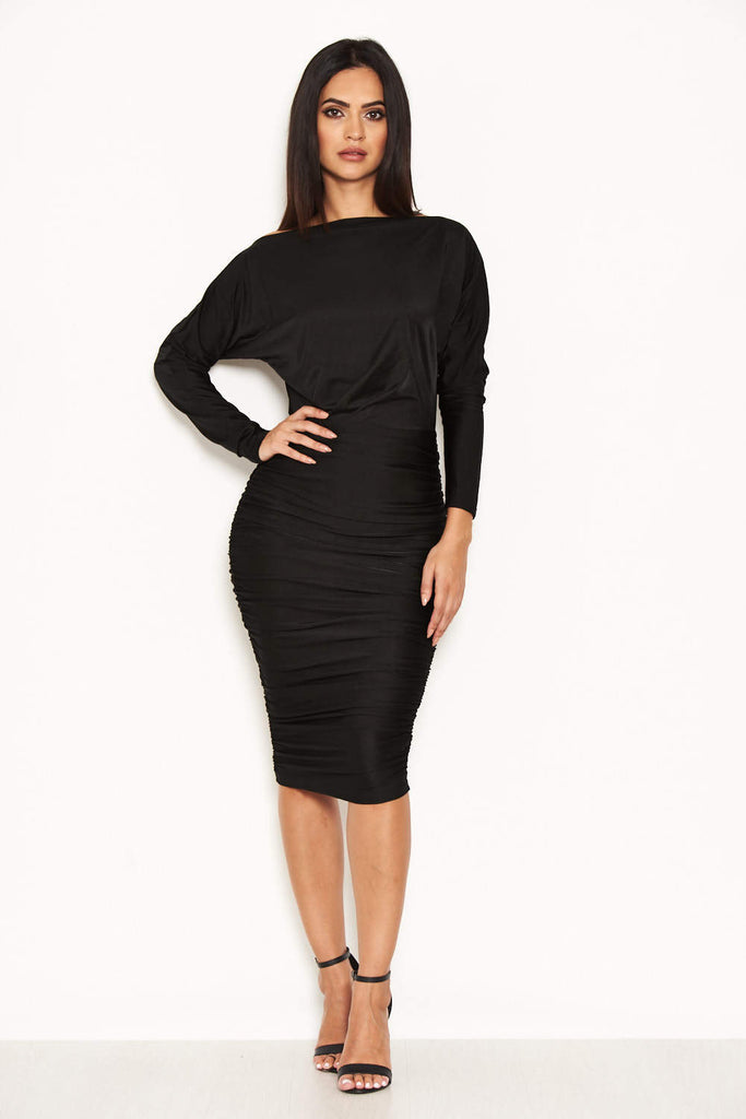 Black Boat Neck Dress With Ruched Detail