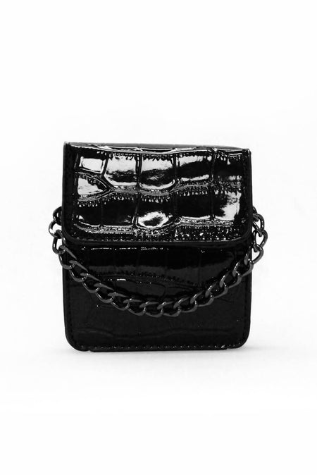 Mink Croc Mini Patient Bag With Gold Ring