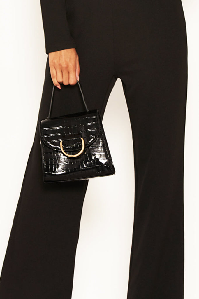 Black Croc Mini Patent Bag With Gold Ring
