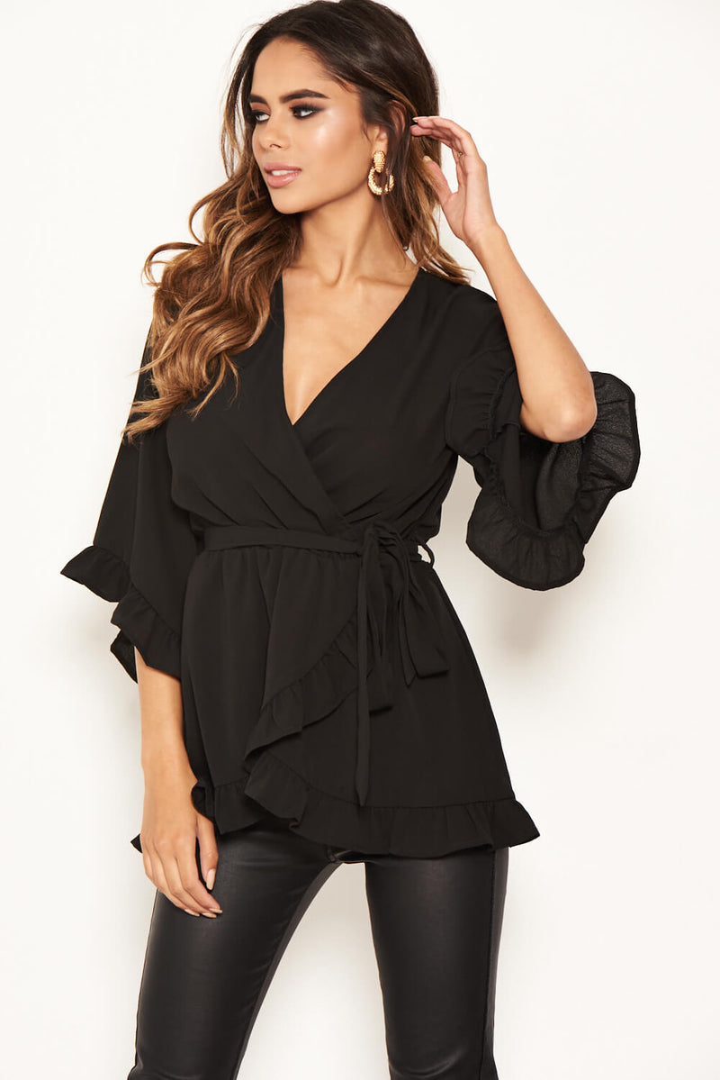 Black Frill Wrap Top