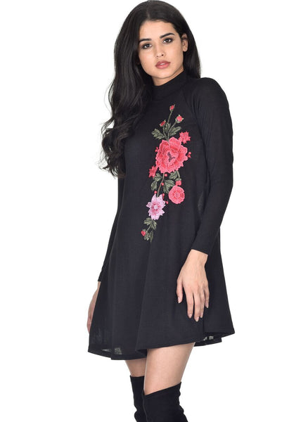 Black High Neck Knitted Swing Dress