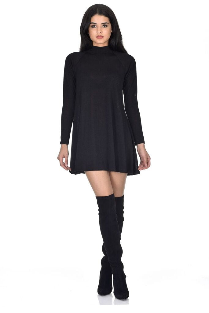 Black Knitted Mini Swing Dress