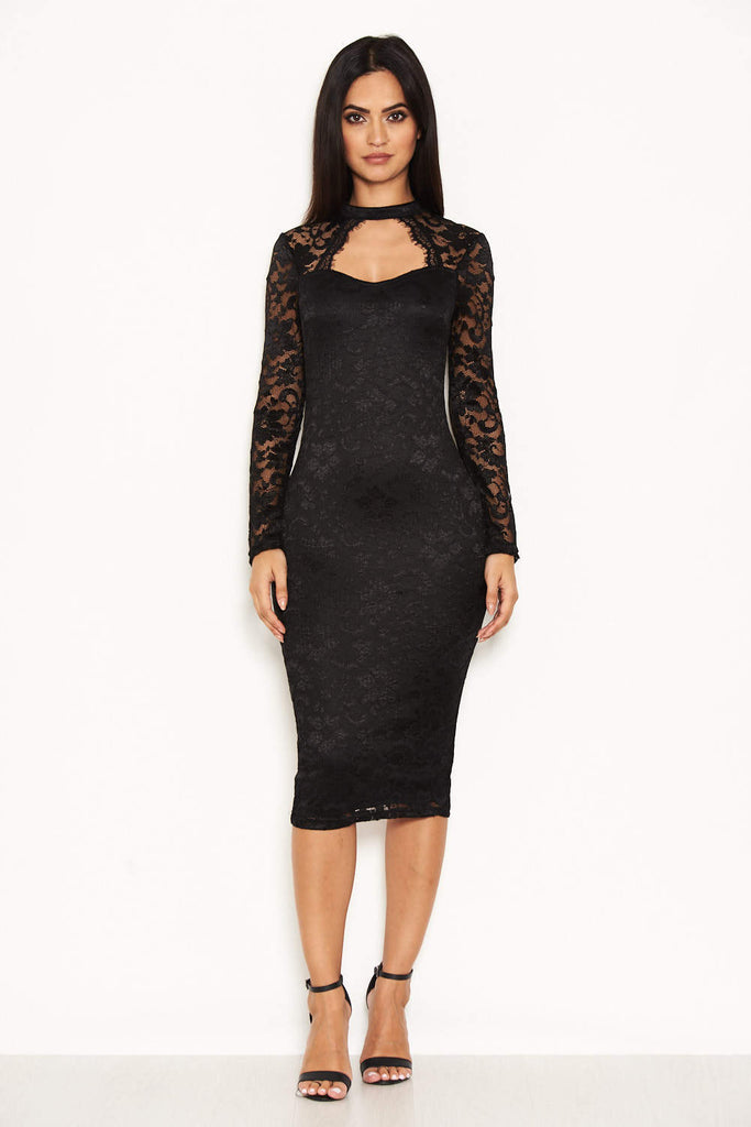 Black Lace Midi Dress With Long Sleeves