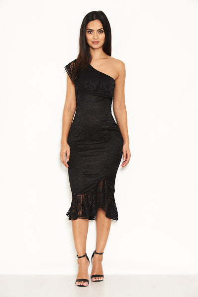 Black Lace One Shoulder Frill Detail Midi Dress