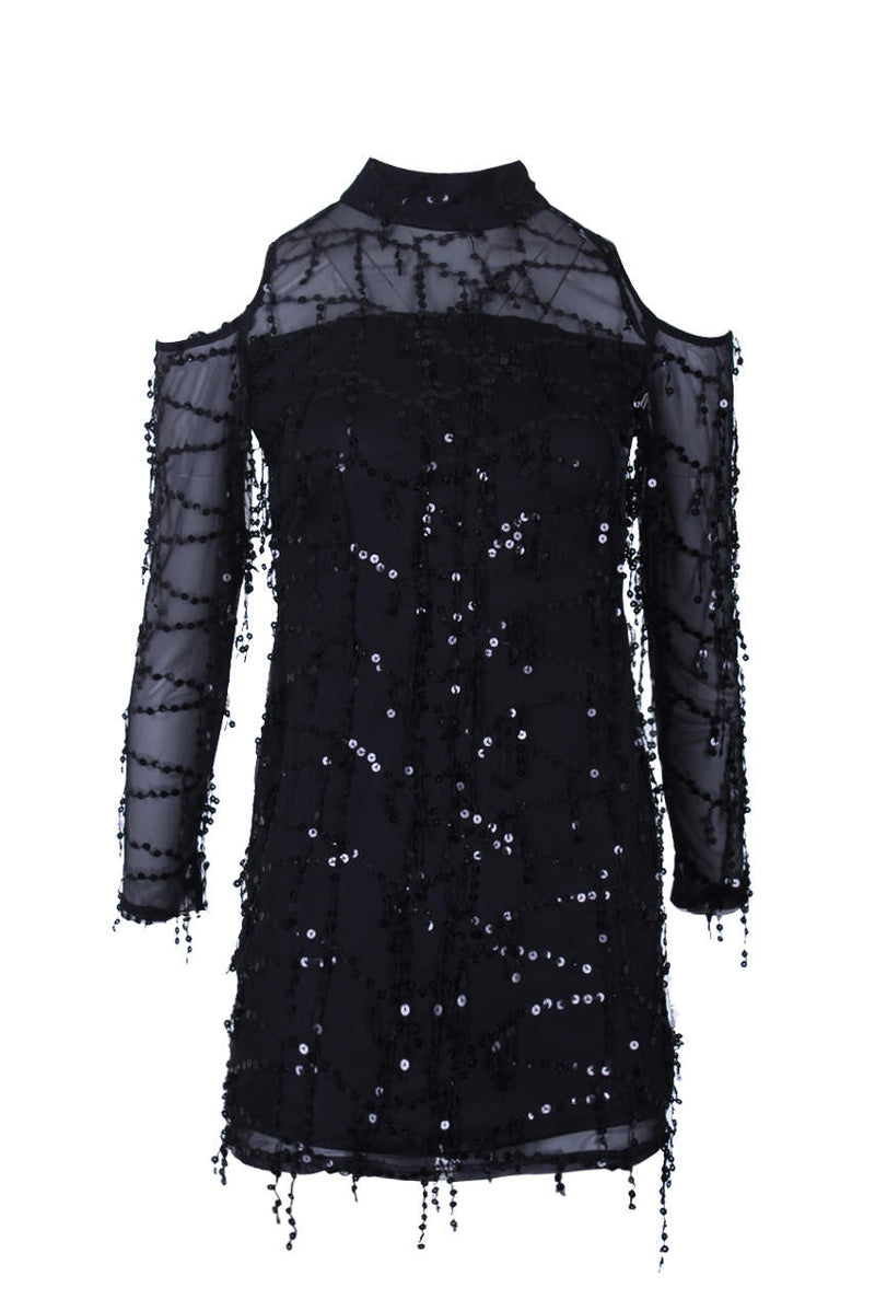 Black Long Sleeve Sequin Cut Out Dress