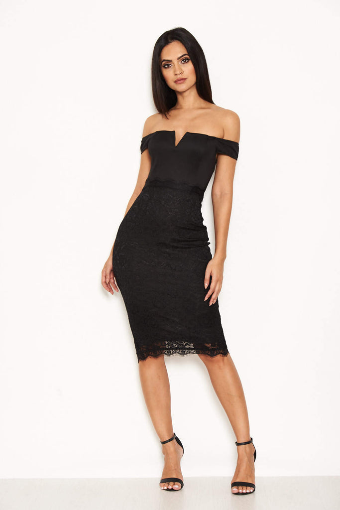 Black Notch Front Lace Detail Midi Dress