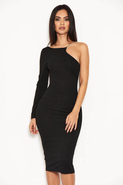 Black One Shoulder Dress With Chain Detail