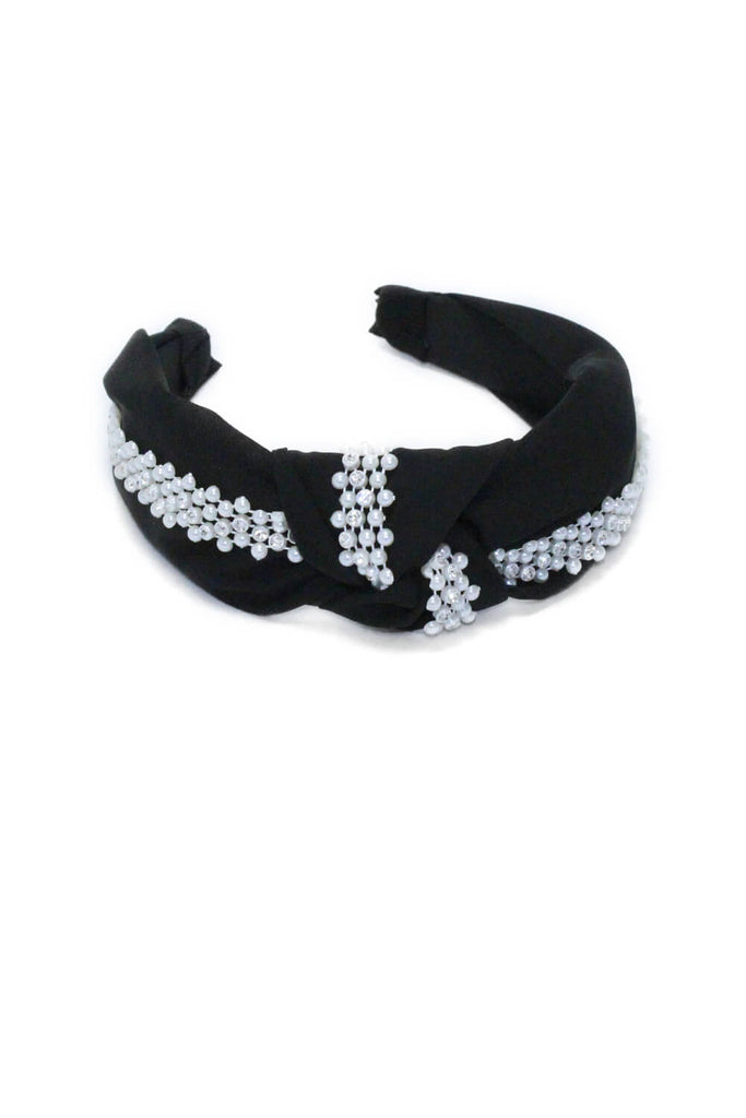Black Pearl And Diamante Knot Headband
