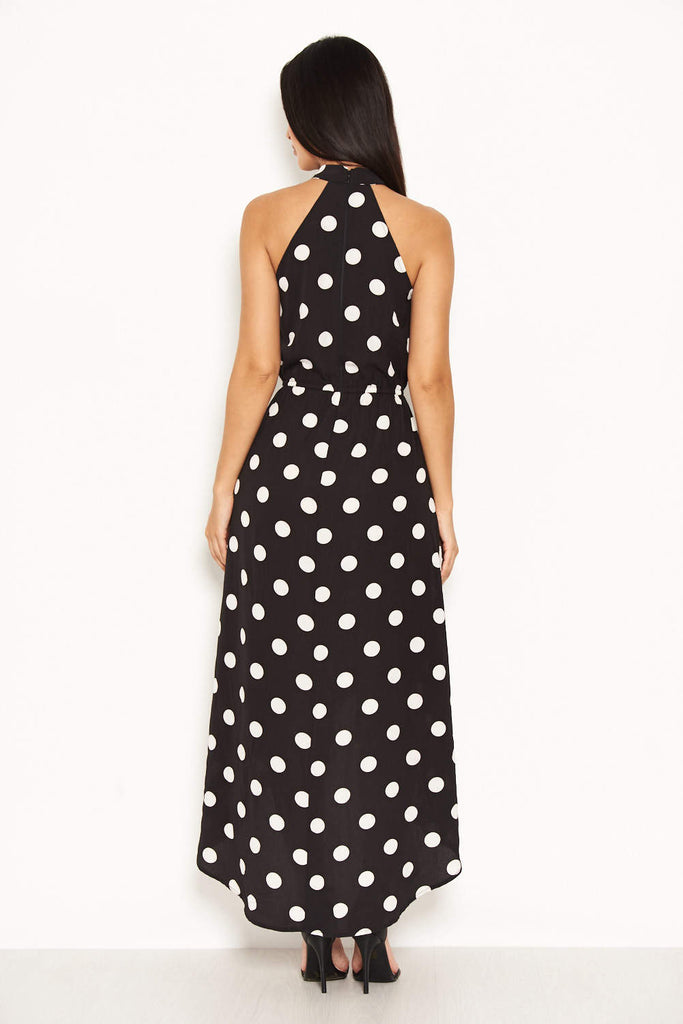 Black Polka Dot High Neck Wrap Dress