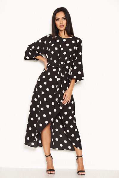 Black Polka Dot Wrap Dress With Tie Front