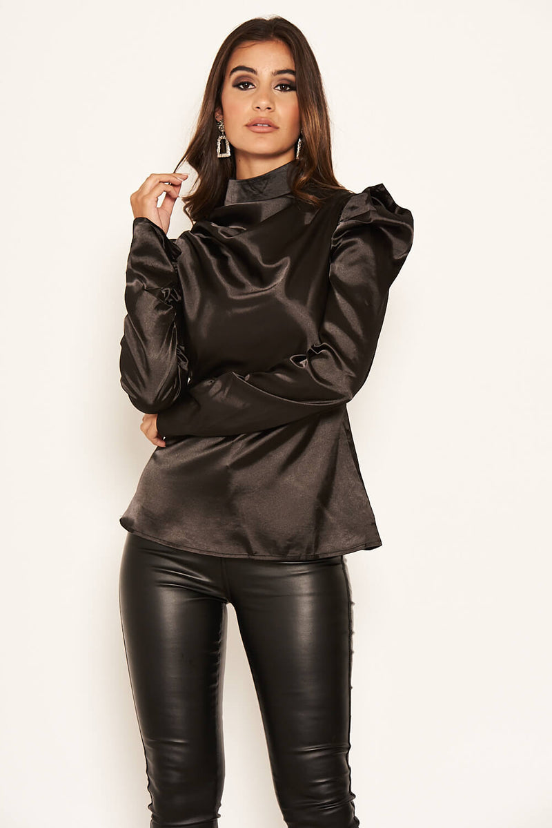 Black Satin Puff Sleeve Top