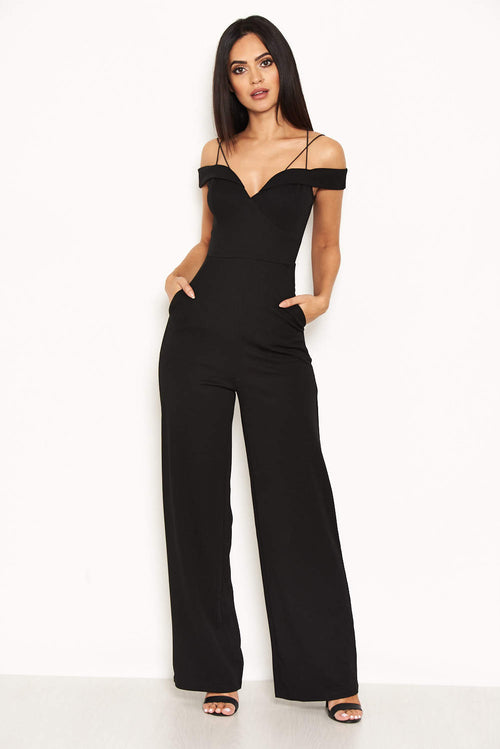 Black Strappy Off The Shoulder Jumpsuit