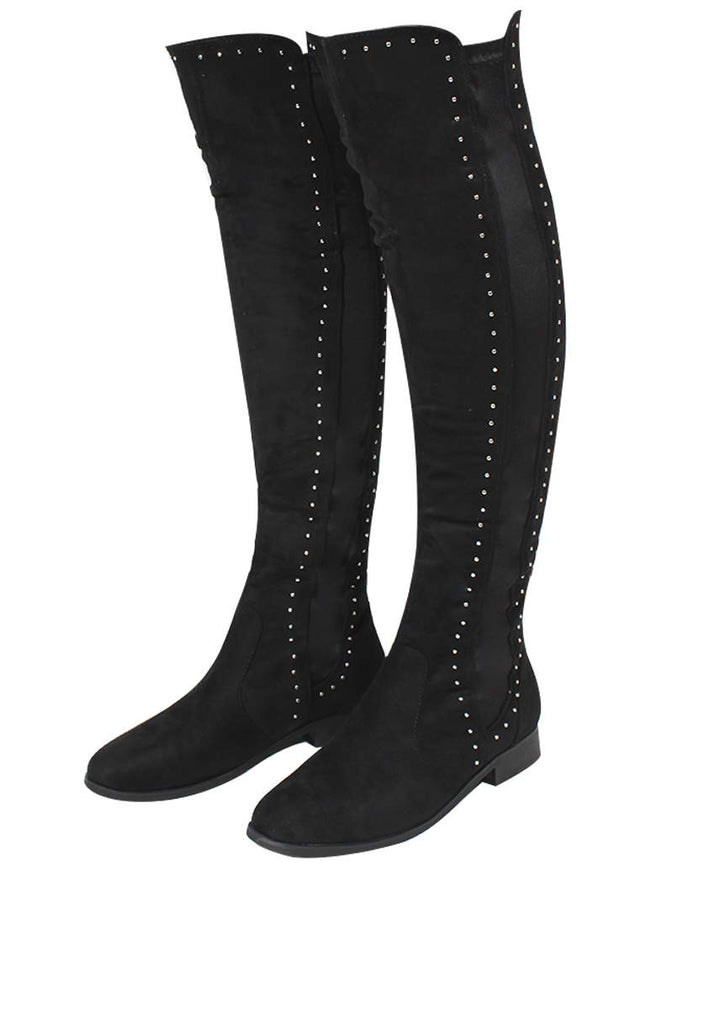 Black Suede Knee High Studded Boots