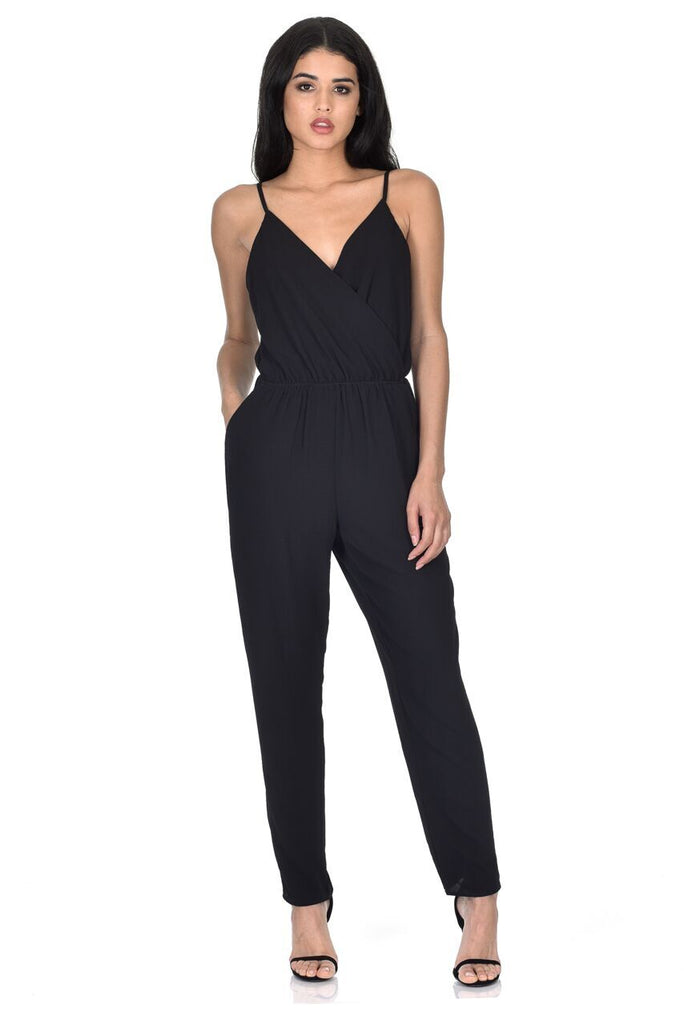 Black Wrap Over Front Jumpsuit
