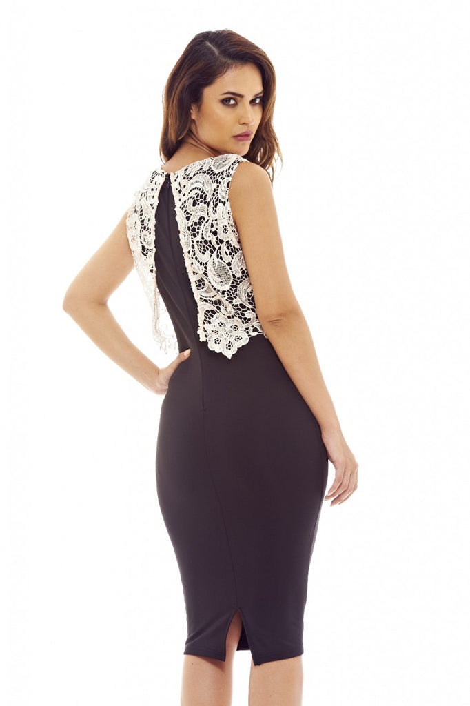 Contrast Crochet Top Bodycon Dress