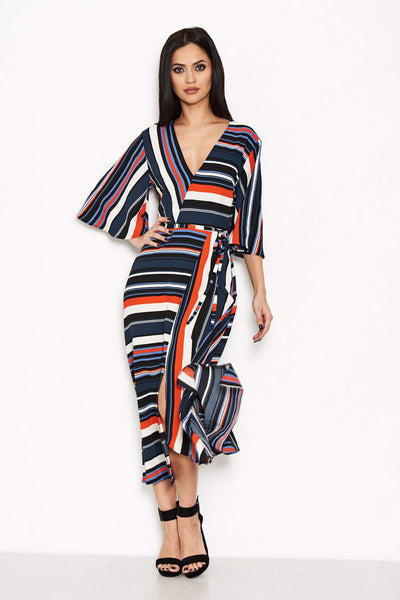 Block Colour Stripe Midi Dress