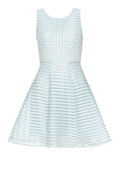 Blue A Line Dress With Mesh Detail