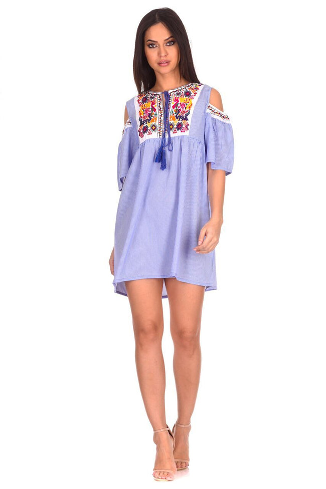 Blue Aztec Striped Cold Shoulder Dress