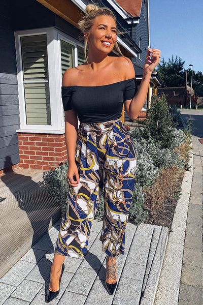 Blue Chain Print Bardot Jumpsuit