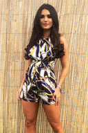 Blue Chain Print Front Knot Playsuit