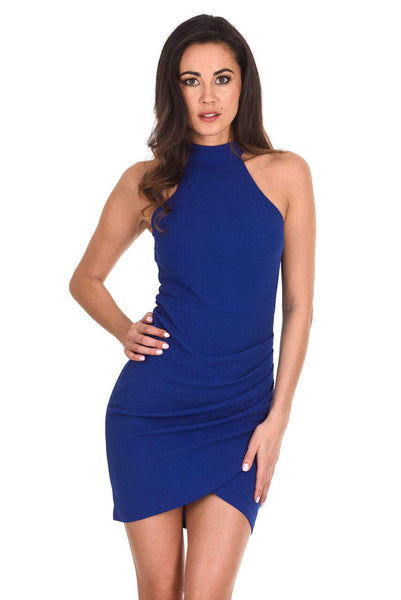 Blue Choker Neck Ruched Detail Bodycon Dress