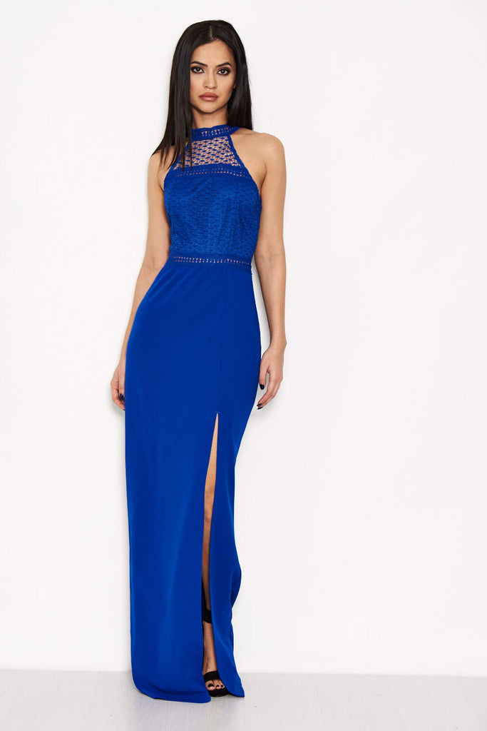 Blue Crochet Top High Neck Maxi Dress