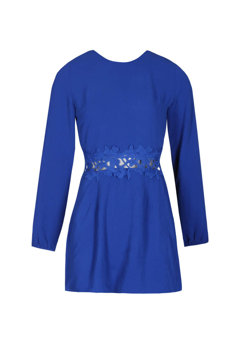 Blue Crochet Waist Long Sleeved Dress