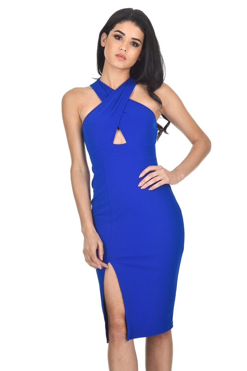 Blue Cross Front Bodycon Dress