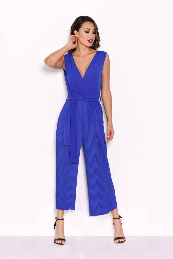 Blue Culotte Pleated Tie Waist Jumpsuit