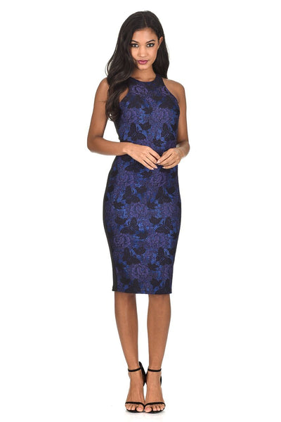 Blue Cut In Neck Metallic Bodycon Dress