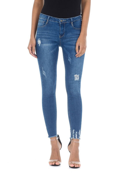 Blue Distressed Skinny Jeans