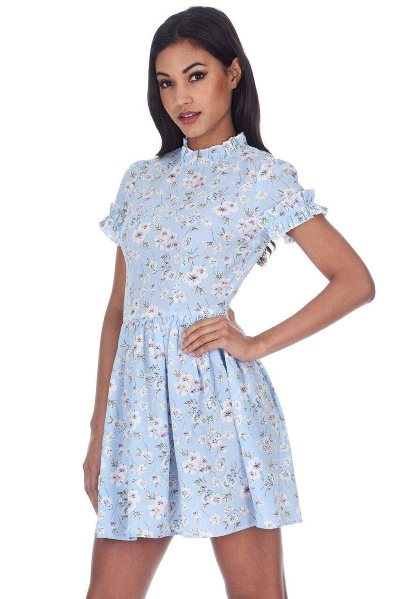 Blue Floral Frill Detail Mini Dress