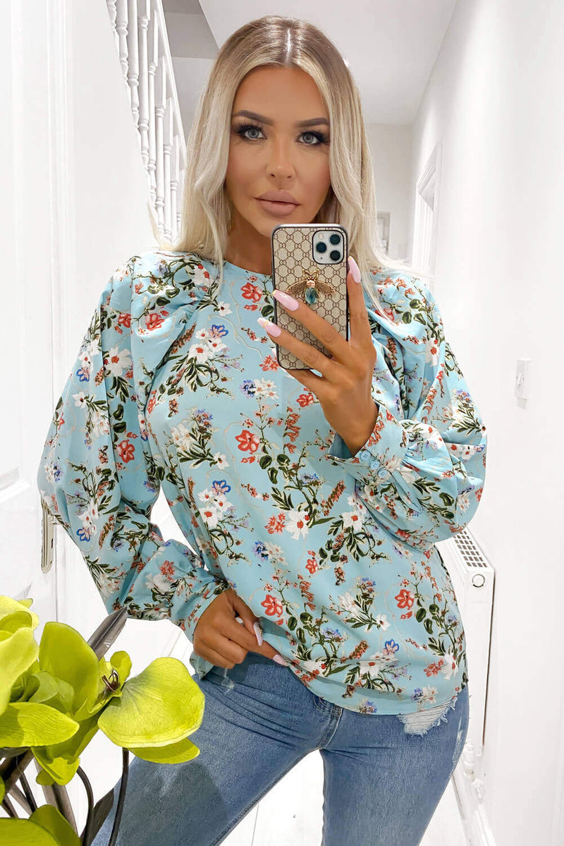 Blue Floral Print High Neck Wide Sleeve Top