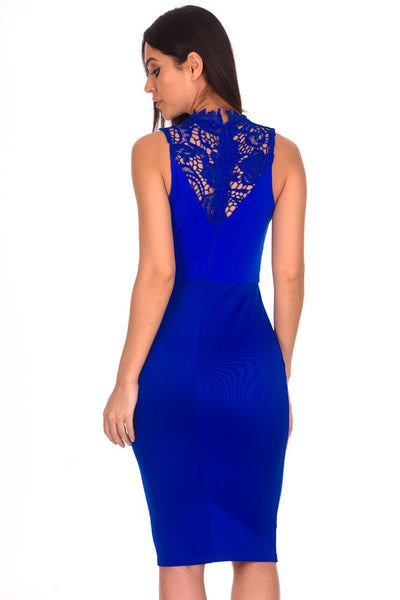 Blue High Neck Crochet Bodycon Dress