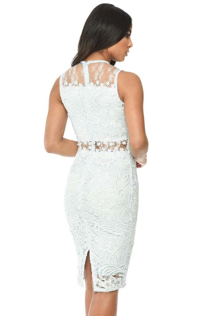 Blue Lace Detail Bodycon Dress