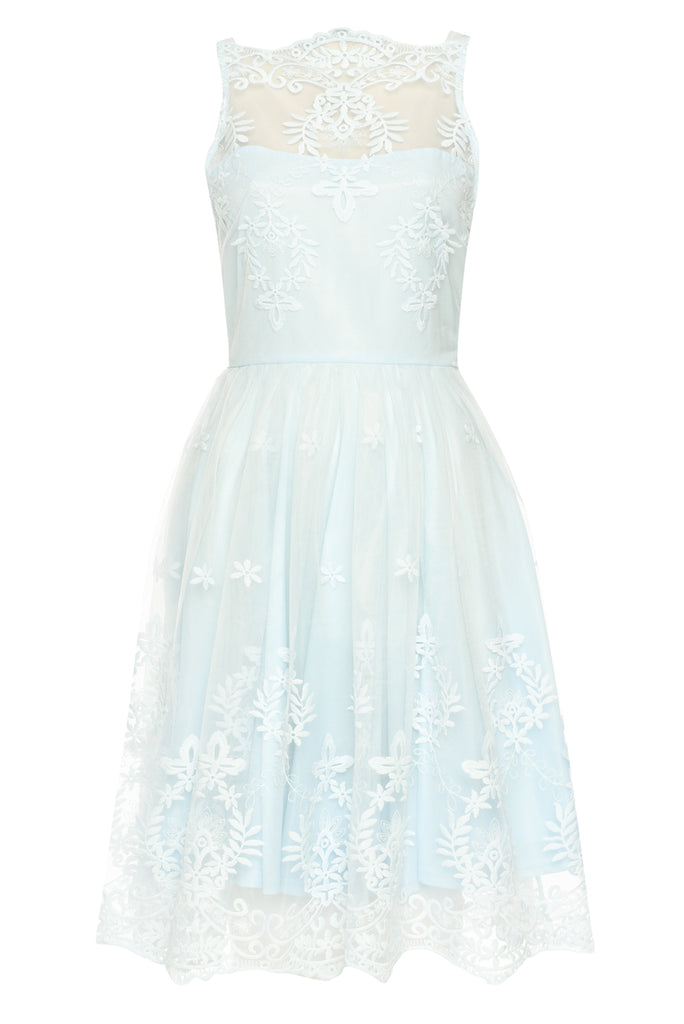 Blue Lace Detail Dress With Full Skirt