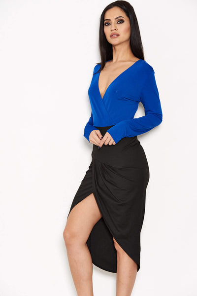 Blue Long Sleeve 2 in 1 Dress
