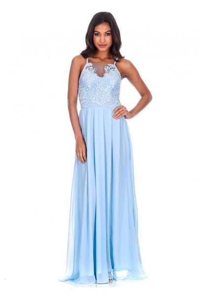 Blue Mesh Embroidery Maxi Dress