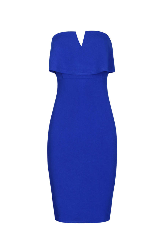 Blue Notch Front Bodycon Dress