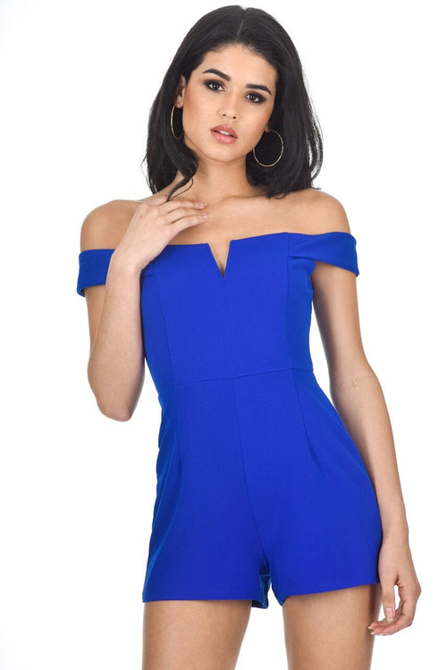 Blue Notch Front Playsuit