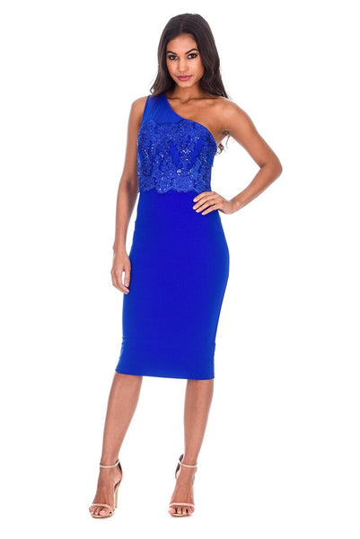 Blue One Shoulder Sequin Embroidered Bodycon