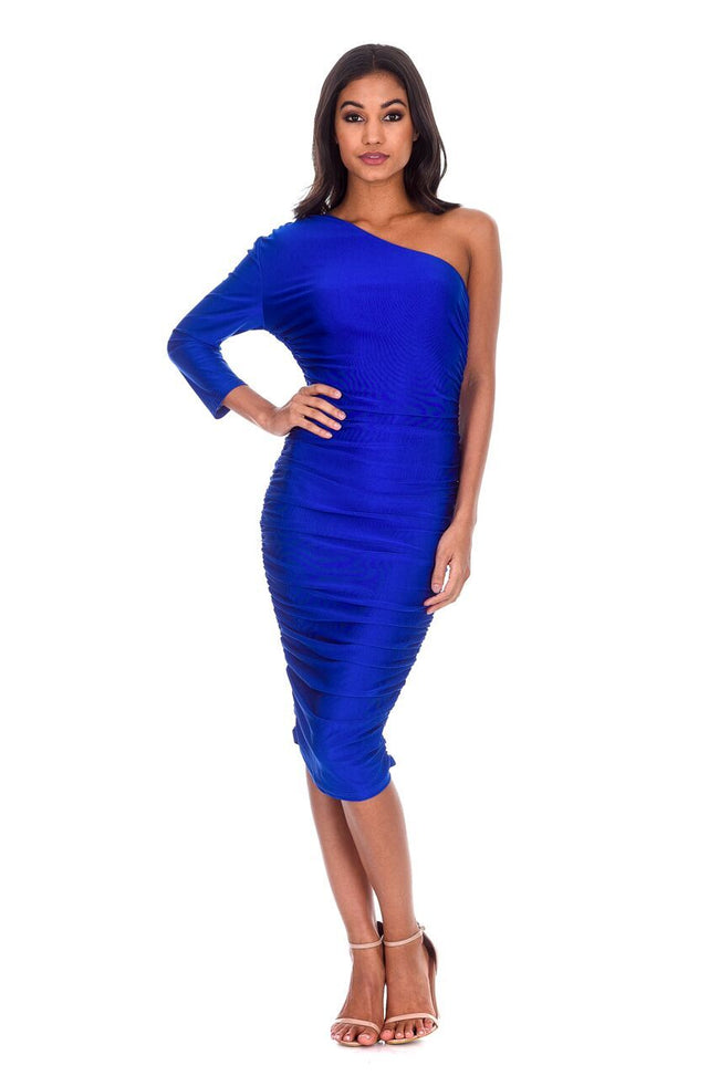 Blue One Sleeve Slinky Midi Dress