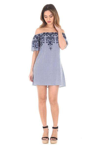 Blue Pinstripe Bardot Dress With Floral Embroidery
