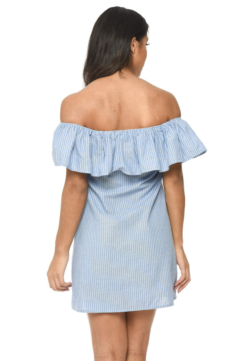 Blue Pinstripe Bardot Dress With Frill Detail And Embroidery